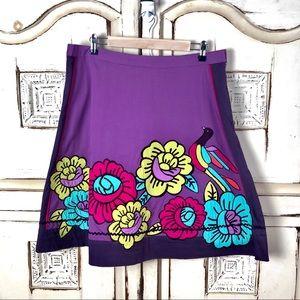Anthropologie Odille Flower Bird Colorful Skirt 12